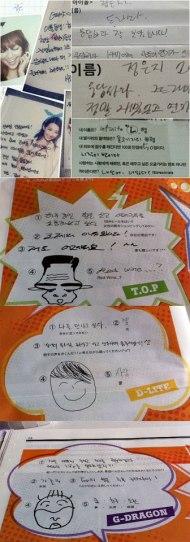 Daesung elegido como idol con peor escritura y G-DRAGON como uno con muy buenaescritura