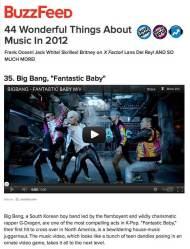 BIGBANG,una de las cosas maravillosas de la música en el 2012 segúnBuzzFeed